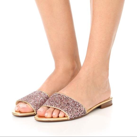 50434ab34bbe Kate Spade Madeline Pink Glitter Flat Slide Sandal